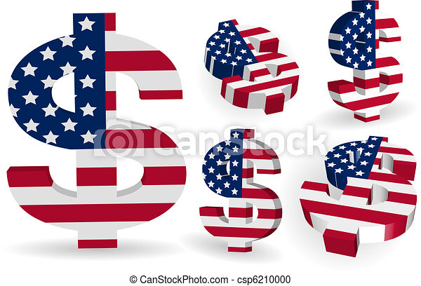 3D American US dollar sign with USA flag - csp6210000