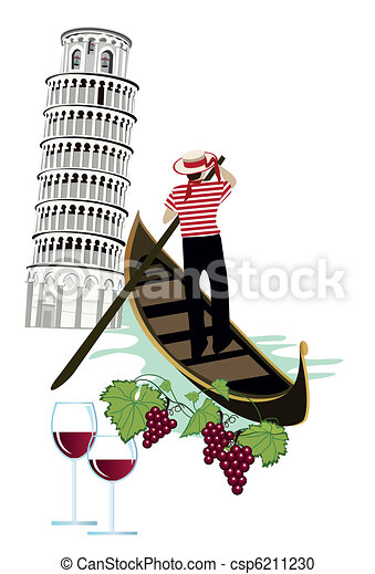 Vector Clipart of Symbols of Italy as Pisa tower, wine and gondola ...