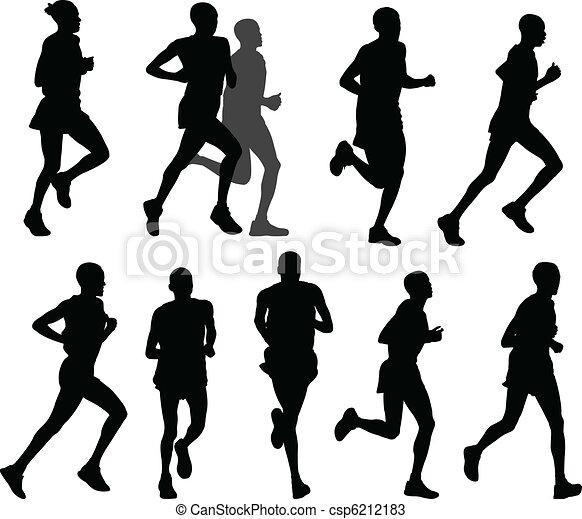 Vecteurs de marathon coureurs silhouettes vecteur csp6212183 recherchez des images - Coureur dessin ...