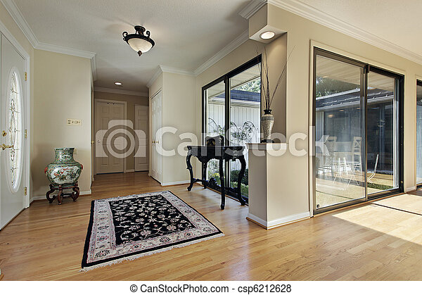 Foyer with doors to courtyard - csp6212628