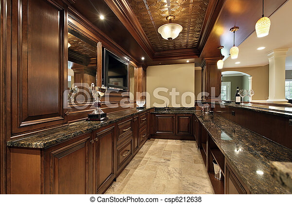 Stock Photo Bar In Basement Of Luxury Home Stock Image Images