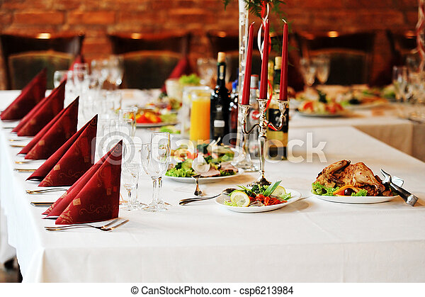 table with food and drink - csp6213984