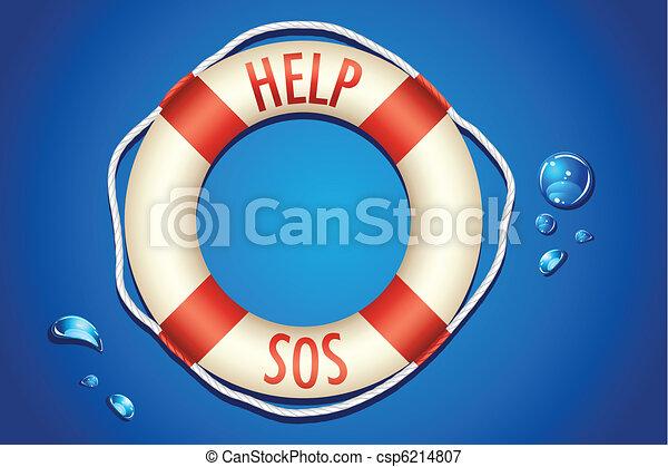 SOS written on Lifebouy - csp6214807