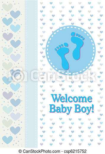 Baby Boy Footprints Birth Announcem - csp6215752