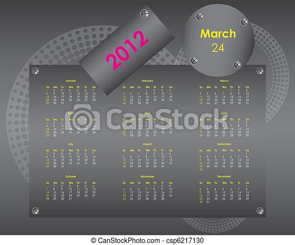 special calendar for 2012 - csp6217130