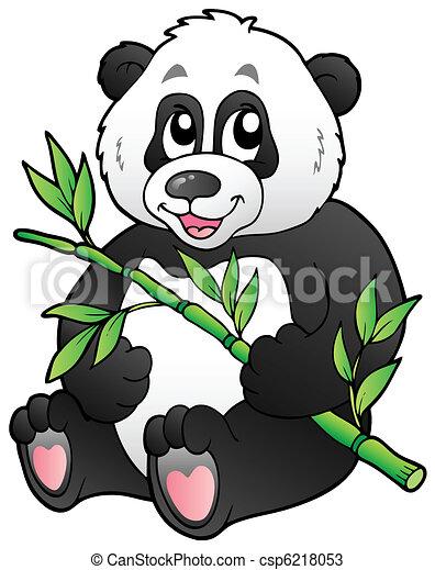 Cartoon panda eating bamboo - csp6218053