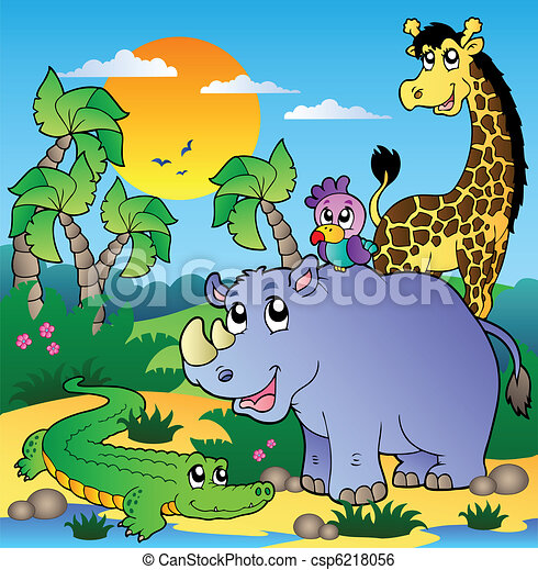 African scenery with animals 3 - csp6218056