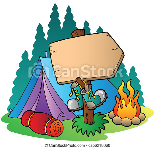 Camping wooden sign near tent - csp6218060
