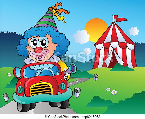 Cartoon clown in car near tent - csp6218062