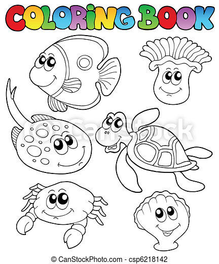 Coloring book with marine animals 3 - csp6218142