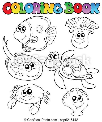 Coloring book with marine animals 3 - csp6218142