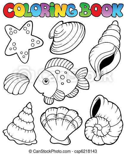 Vector - Coloring book with seashells - stock illustration, royalty ...