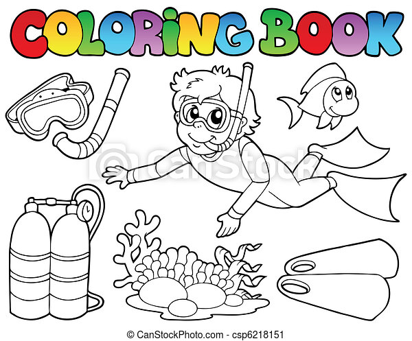 Coloring book with diving theme - csp6218151