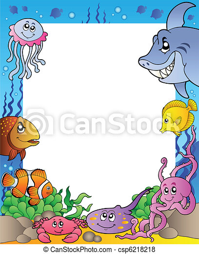 Frame with sea fishes 1 - csp6218218