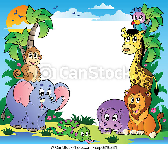 Frame with tropical animals 2 - csp6218221