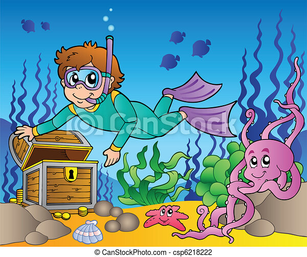 Diver exploring treasure in sea - csp6218222