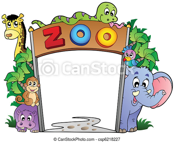 Zoo entrance with various animals - csp6218227