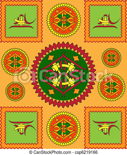 The sample of ornaments of different nations of the world, geometrical figures  - csp6219166