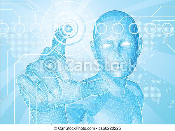 Future man touch screen concept - csp6220225