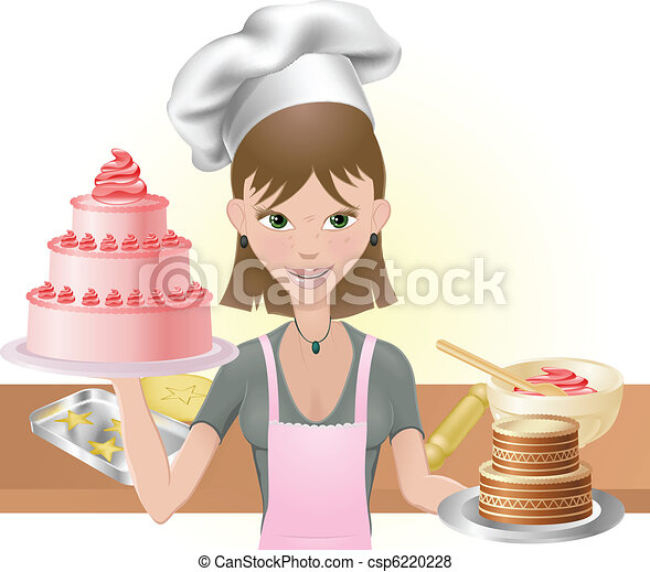 Young woman baking a cakes and cookies - csp6220228