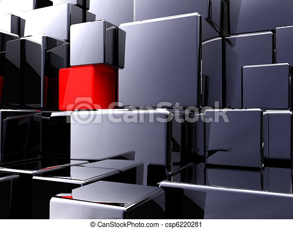 A red cube in construction - csp6220281