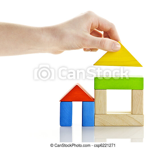 Building with wooden blocks - csp6221271