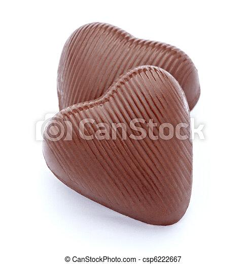 chocolate, corazón, amor, postre, pedazos, dulce, alimento - csp6222667
