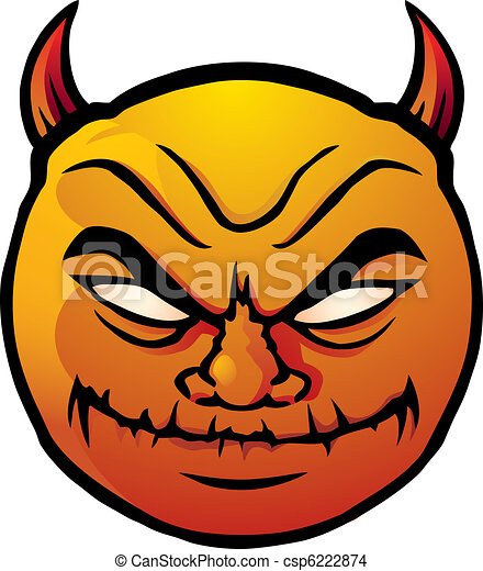 EPS Vector of Evil smiley - Cartoon illustration of a devilish ...