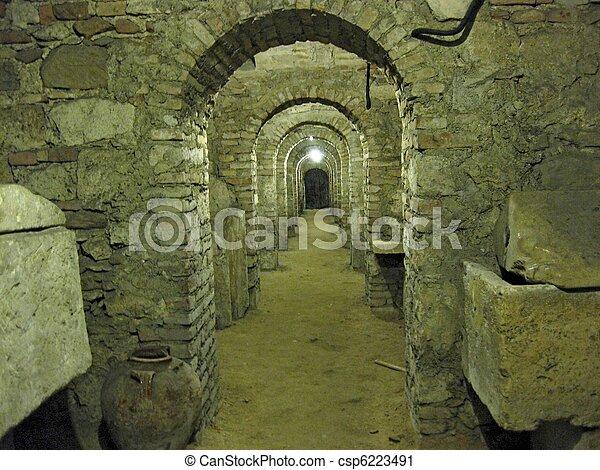 Archaeology. An underground crypt. - csp6223491