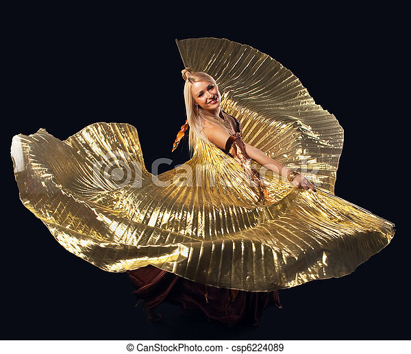 Beauty blond woman dance with flying gold wing - csp6224089