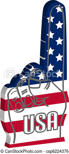 Foam finger with USA american flag - csp6224376