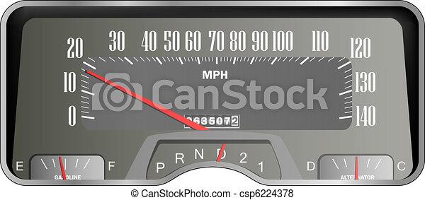 Retro car dashboard - vintage speedometer - csp6224378