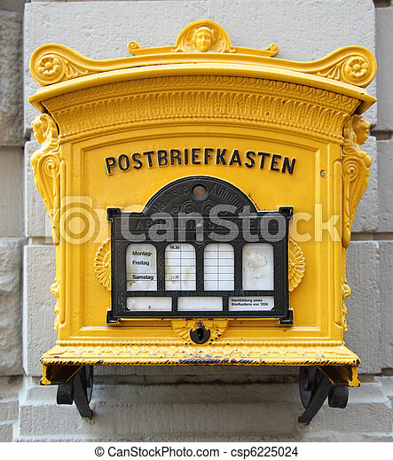 Historic german mailbox on the wall - csp6225024