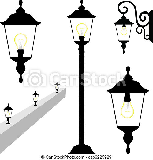 Wall Lamps Drawing : EPS Vectors of Street and Wall Lamps csp6225929 - Search Clip Art, Illustration, Drawings and ...