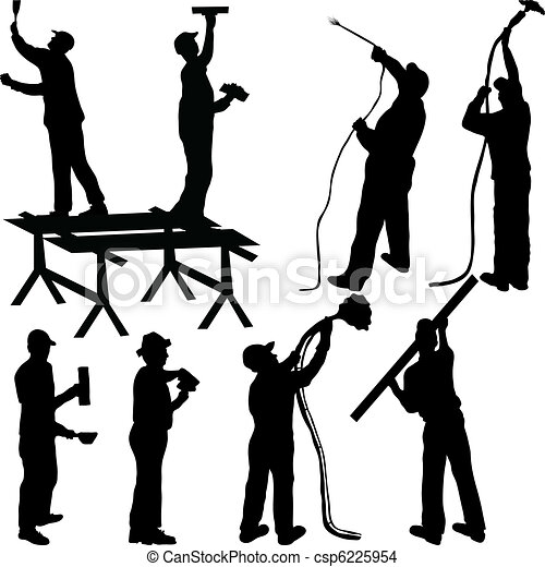 Painters and masons silhouettes - csp6225954