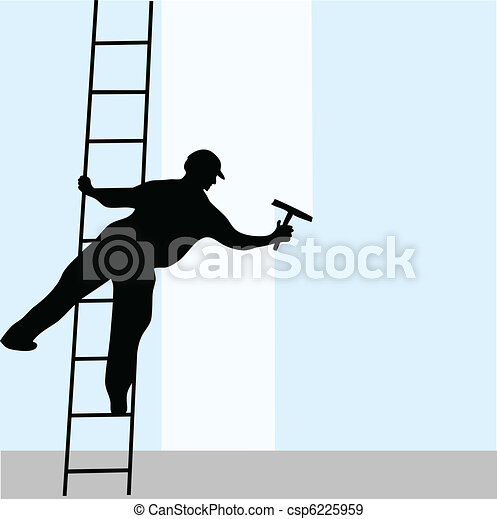 Window cleaner on the ladder - csp6225959