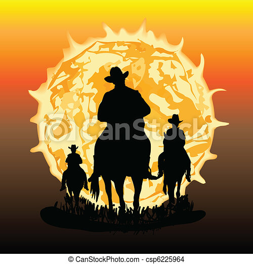 Three horsemen illustration - csp6225964
