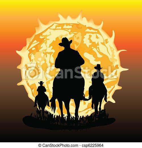 Three horsemen illustration - csp6225964