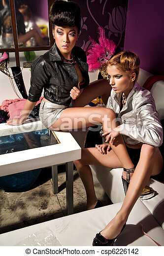 Vogue style photo of two beauty women - csp6226142