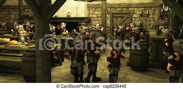Toon Viking Dwarf Horde in Tavern - csp6226445