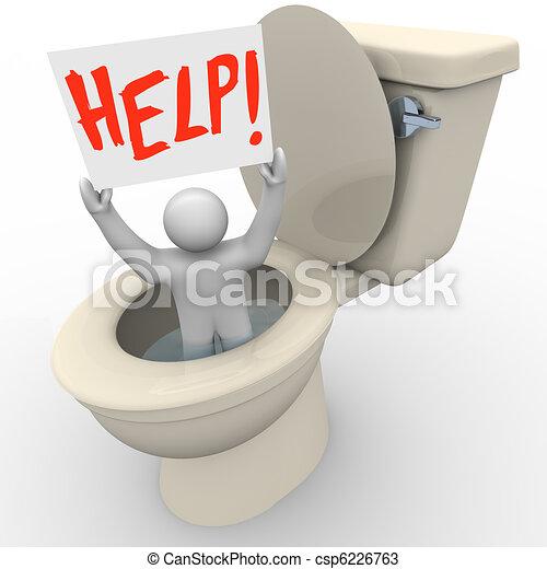 Man Stuck in Toilet Holding Help Sign - Emergency SOS - csp6226763