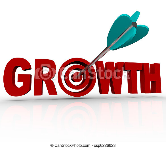 Growth - Arrow in Target Reaching Goal of Increase - csp6226823