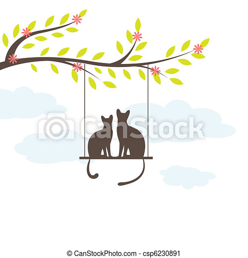 Two Black cat on  swing. Vector Illuatration - csp6230891
