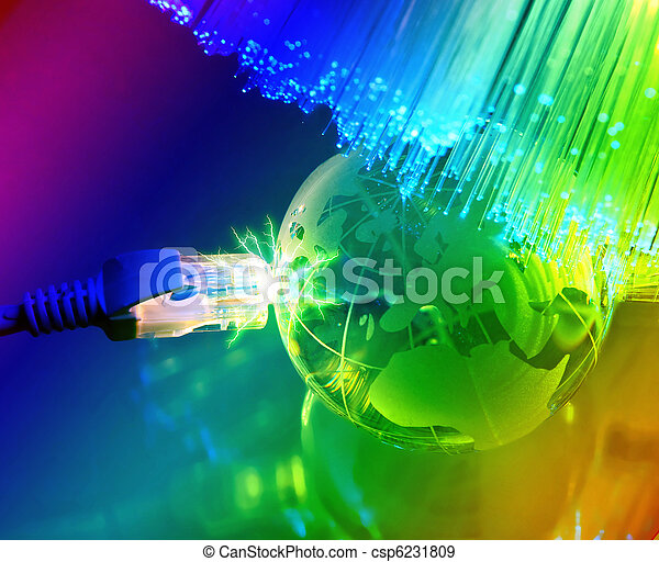 fibra, ottico, globo, contro, fondo, Terra, tecnologia - csp6231809