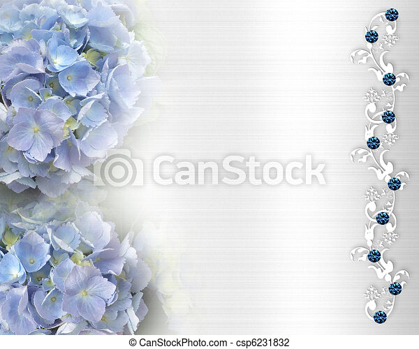 blue hydrangea flowers on white satin like background for wedding