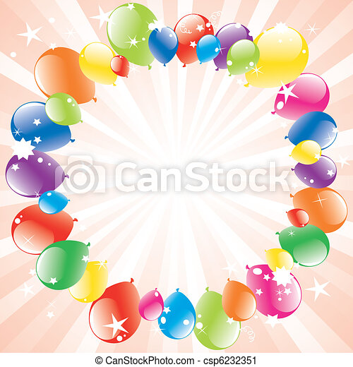 vector festive balloons and light-burst - csp6232351