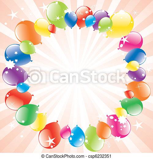 vector festive balloons and light-burst - csp6232351
