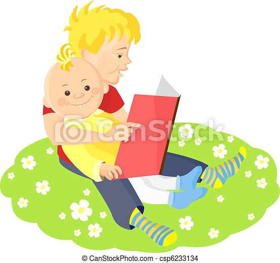 two boys sitting on a green lawn with white flowers and read a book - csp6233134