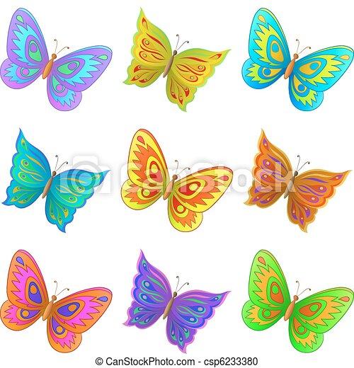 Vector Clip Art de Conjunto, mariposas - vector, Conjunto, nueve ...