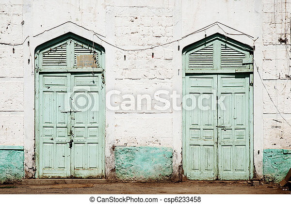 ottoman influence doors in massawa eritrea - csp6233458